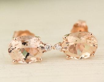 14K Rose Gold Natural Morganite & Diamond Ladies Stud Earrings (rose-gold, Morgnaite)