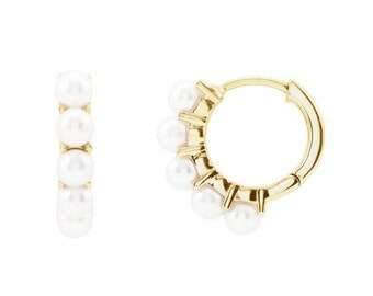14K  Yellow Gold White FRESHWATER Cultured Pearl  Hoop Earrings-FREE SHIPPING