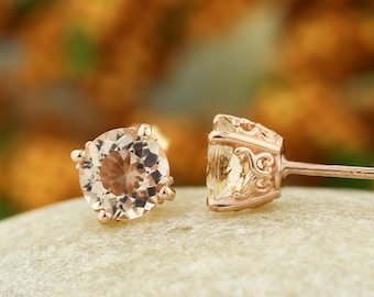 Solid 14k Rose Gold Morganite Stud Earrings- ready-to-ship