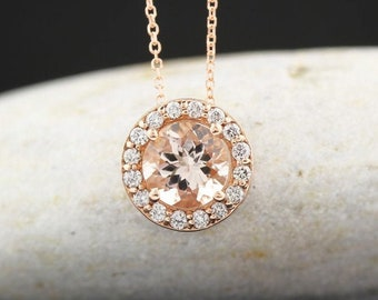 "Certified 14k Rose Gold Diamond Morganite Halo Style Pendant Necklace, 18"" (Rose-Gold)"