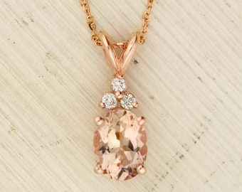"GNG Solid 10K Rose Gold Diamond Morganite Pendant Necklace, 18"" (Rose-Gold, Natural Morganite)"