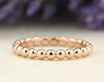 Eternity 14kt Rose Gold 2.5mm Beaded Stackable Ring ST62101