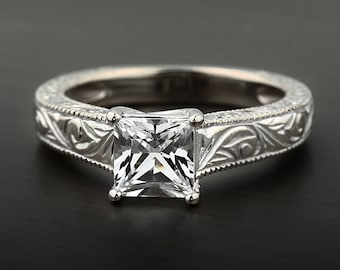 1 Ct Forever One (GHI) Moissanite  Solid 14k white gold Antique Engraved TRELLIS Style Engagement Ring- Ov61917