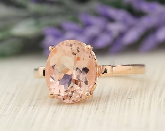 Certified Morganite (11x9mm Oval) 14K Rose Gold Ring