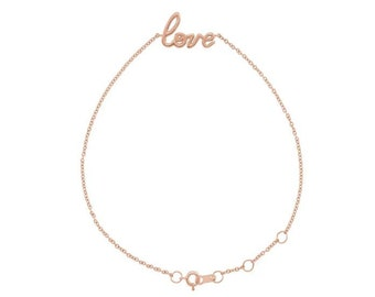 """14K Gold Love 6 1/2-7 1/2"""" Bracelet"""