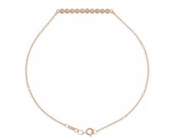 """14K Rose 1/8 CTW Diamond Bar 6 1/2-7 1/2"""" Bracelet"""