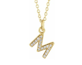 "14K Gold Diamond Petite Initial 16-18""  Necklace, Letter Necklace, Gold Diamond Necklace, Natural Diamond Necklace"