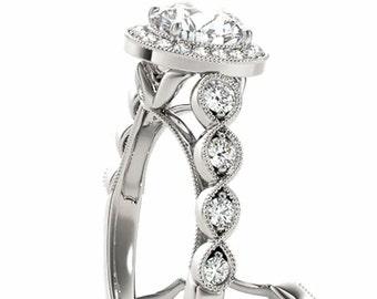 1ct  6.5mm  Forever One (GHI) Moissanite Solid 14K White Gold  Halo  Engagement  Ring Set  - OV61989