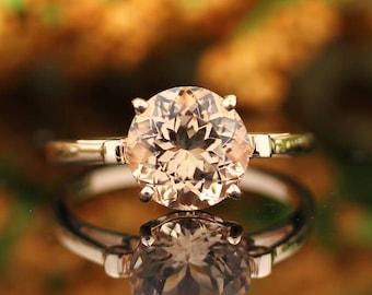 Natural AAAA Round 10mm Pink Morganite   Fleur-de-Lis Ring  Solid 14K Rose Gold Diamond engagement  Ring - Gem936