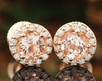 AAA Morganite and Diamonds Halo Earrings in 14k Rose gold, Screw Back  P172