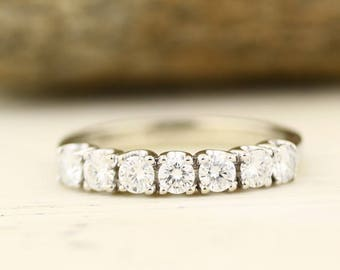 7 stones ~ 3/4 ct  Forever One  Moissanite  Solid  14k white gold Half eternity wedding Band Ring WB052