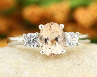 Natural  Morganite Solid 14K White Gold white sapphire engagement Ring Gem758