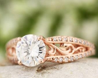 14K rose gold Forever One colorless moissanite & diamond Engagement Ring