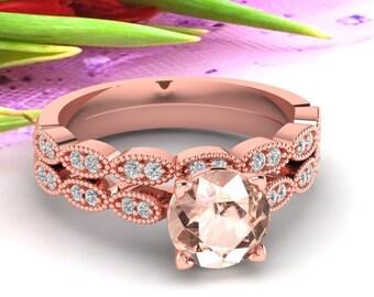 Art Deco Antique Style Natural Morganite and Diamond Engagement Ring Set ,Wedding Ring Set Gem1410