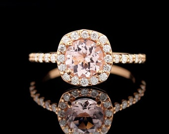 GNG 1.00 Cttw Natural Morganite and Diamond Halo Engagement Ring in 10k Rose Gold