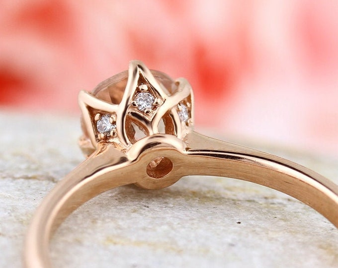 Featured listing image: Fancy 6mm Round Morganite Ring In  Solid 14K Rose Gold Gem1551