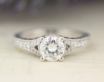 1.00 carat 6.5mm Round Forever One (GHI) Moissanite Diamond Art Deco Vintage Engagement Ring ENR7890