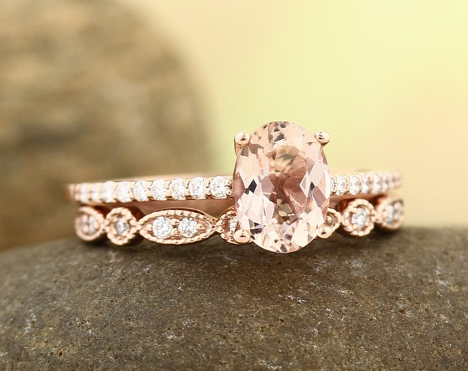 Featured listing image: Morganite Engagement Ring Set , Diamond Wedding Ring Set  with Art deco wedding band In 14k Rose Gold 8x6mm Oval Gem1403