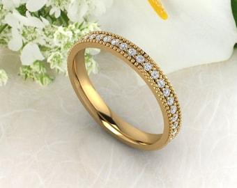 Milgrain Full Eternity stackable Wedding Band 1/2 CT  Diamond /Moissanite 14K White/Yellow/Rose Gold  Wedding Band Ring Anniversary Ring
