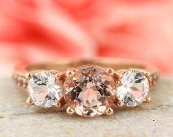2.50 CTTW Morganite white Topaz Solid 14K Rose Gold  engagement Ring Gem1614