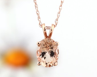 "GNG 10k Rose Gold Fancy Color Morganite Solitaire Pendant Necklace, 18"" (8x6mm Oval Morganite)"