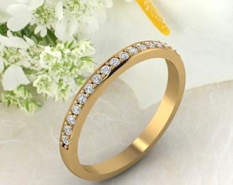 2MM wedding band 14K gold  Round Diamond/Moissanite wedding ring stacking matching band Bridal set Promise Gift for women