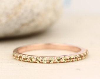 Natural Gemstone Wedding Band Ring In 14k White ,Rose or Yellow Gold Gem1622(Peridot,Garnet,Citrine,Topaz ....)