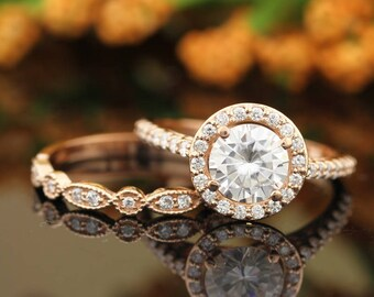 7mm Forever Moissanite Engagement Ring Set, Diamond Wedding Set, Floral Style With art deco band In 14k Rose Gold Gem1445