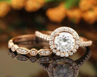 14k Rod Gold  Moissanite (EF) Engagement Ring Set, Wedding Ring Set, Floral Style With art deco band In 14k Rose Gold Gem1445