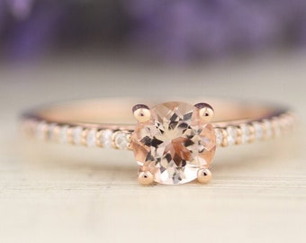 1.0 CTTW AAA Natural Morganite & Diamond Engagement Ring In 14k Rose Gold  Gem1403-R