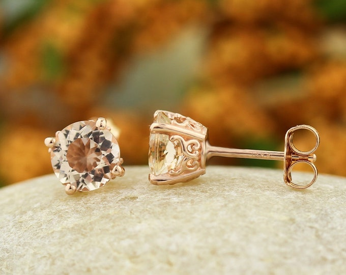 Featured listing image: Solid 14k Rose Gold Morganite Stud Earrings