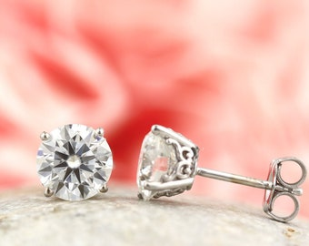 1.5 cttw Moissanite 14k White Gold earrings,  vintage scroll style, Yellow, rose gold available