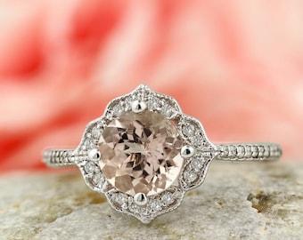 Morganite Engagement Ring Diamond Wedding Ring Vintage Floral Ring In 14k White Gold Gem1224