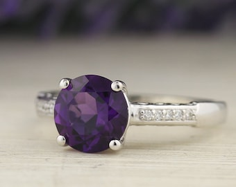 Natural Round 8mm Purple Amethyst  Solid 14K White Gold Diamond engagement  Ring Set - ST233444-1027