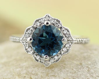 AAA London Blue Topaz Engagement Ring Diamond Wedding Ring Vintage Floral Ring In 14k White Gold Gem1224