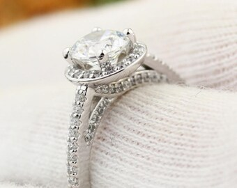 1ct Forever One Near-Colorless Moissanite & Diamond 14K White Gold  Sculptural Engagement Ring  - Gem1462
