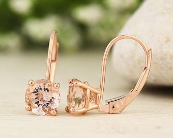 Solid 14k Rose Gold Morganite Dangle Lever back Earrings (Morganite)