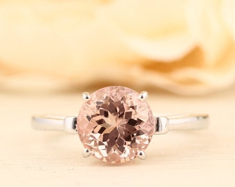 Natural AAA Round 8mm Morganite   Fleur-de-Lis Ring  Solid 14K White Gold Diamond engagement  Ring - Gem936