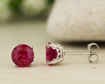 Solid 14k White Gold Gemstone Stud Earrings, 6mm Round each (Lab-created Ruby)