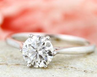 14K Solid Gold Lotus Engagement Ring , 1CT Round Diamond Stimulant Wedding  Ring / Moissanite Ring / Anniversary Ring / Promise Ring GEM1370