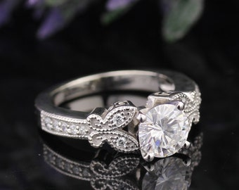 Certified  Forever One (GHI) Moissanite Butterfly Diamond Engagement Ring   Set  ENS4188-1534