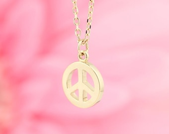 """14K Solid Gold Peace Symbol 16-18"""" Necklace, White Yellow or Rose Gold."""