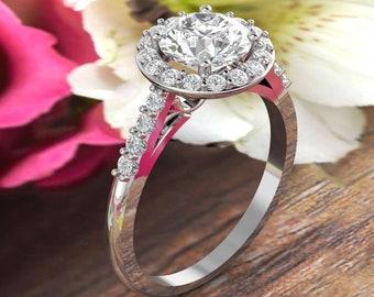 Forever One DEF Moissanite Diamond Floral Style Engagement Ring, Diamond moissanite Wedding Ring In 14k White Gold  Gold - 7mm Round Gem1494