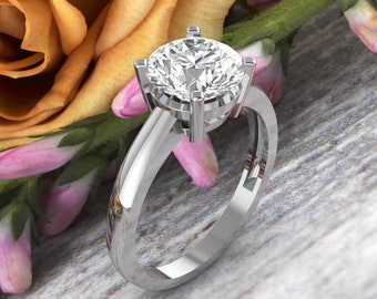 14K White Gold  2 CT Round Moissanite (EF) Solid  Sculptural Engagement Ring Gift For Her. - G1560