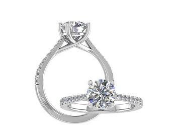 14K White Gold  1.75 CT  Round Moissanite (DEF) Solid  Trellis Style Engagement Ring Gift For Her. - R56
