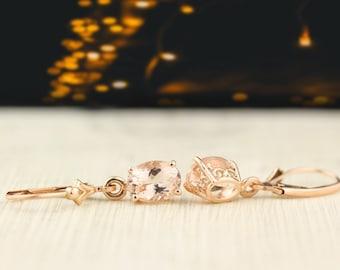 Solid 14k Rose Gold Morganite Dangle Lever back Earrings
