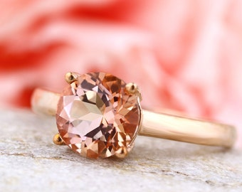 8mm Natural Peach Topaz (Morganite Peach) Solitaire Ring in 10K Rose Gold SKU 1506