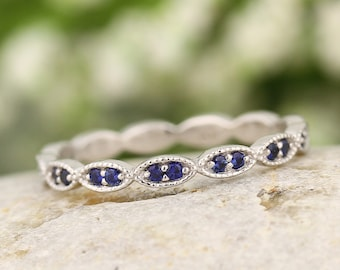 Natural Blue Sapphire Wedding Band Ring ,Full Eternity Band Ring,Art Deco Antique Style  In 14k White,Rose or Yellow Gold Gem1409