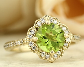 Natural Peridot Engagement Ring Diamond Wedding Ring Vintage Floral Ring In 14k Yellow Gold Gem1224