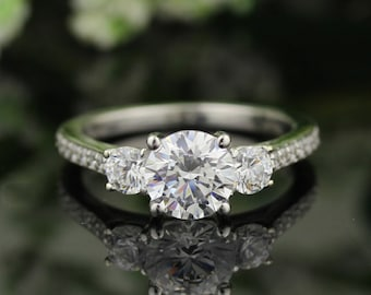 Ready To Ship-Forever One (DEF) Moissanite Solid 14K White Gold  3 stone  Engagement  Ring -Size 7